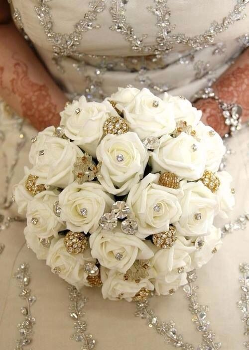 Wedding Bouquet Wedding Dress White Roses Gold Bling Crystals