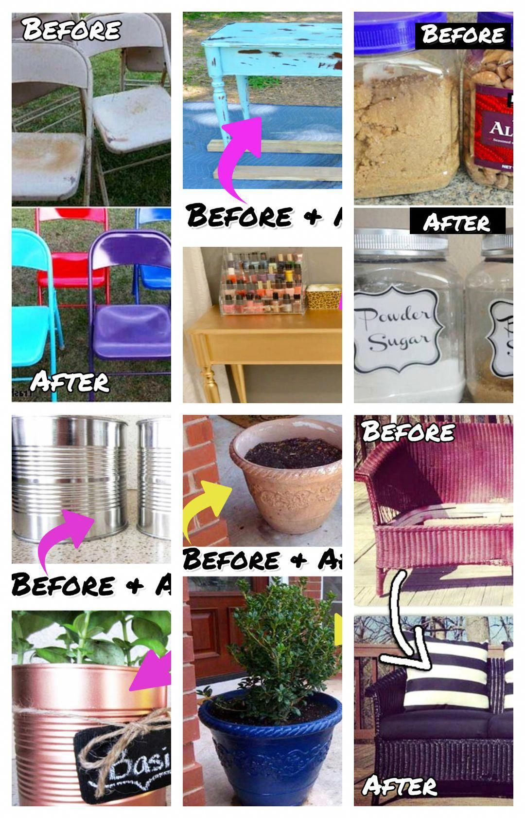 DIY Cheap Home Decorating Ideas   Before And After Pictures   Spray Paint Home  Decor Items   Creative Home Decor Ideas On A Budget #homedecorideas ...