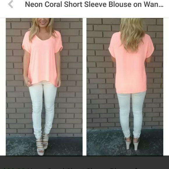 NEW NEON CORAL BLOUSE! Never been worn. Flattering short sleeve blouse. Lighting was a little dark but I purchased from the cover image web page. So many ways to wear this blouse. Size L. Tops Blouses