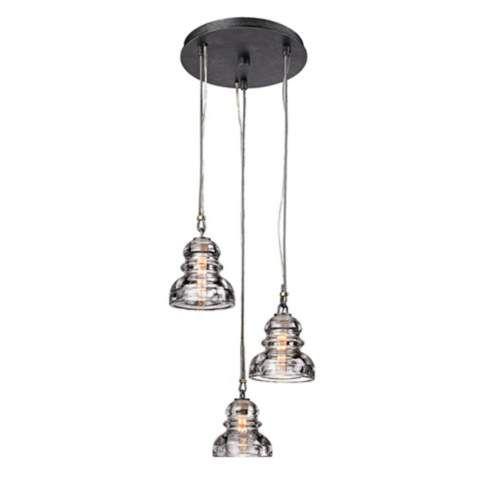 Menlo Park 3 Light 13 3 4 Wide Old Silver Pendant Light X5876