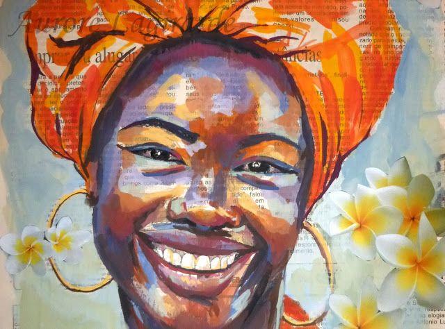 Célèbre Portrait, femme noire : Inspiration ethnique, peinture et collage  RN46
