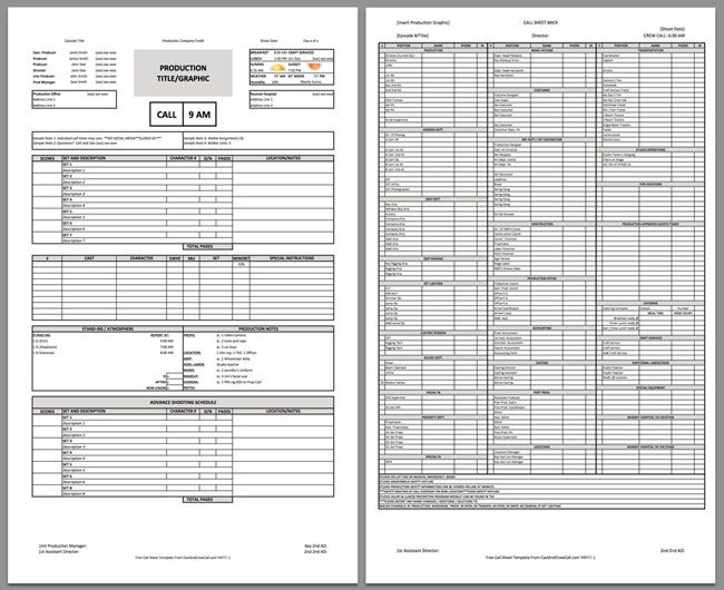 Call Sheet Template  Filmmaking    Template