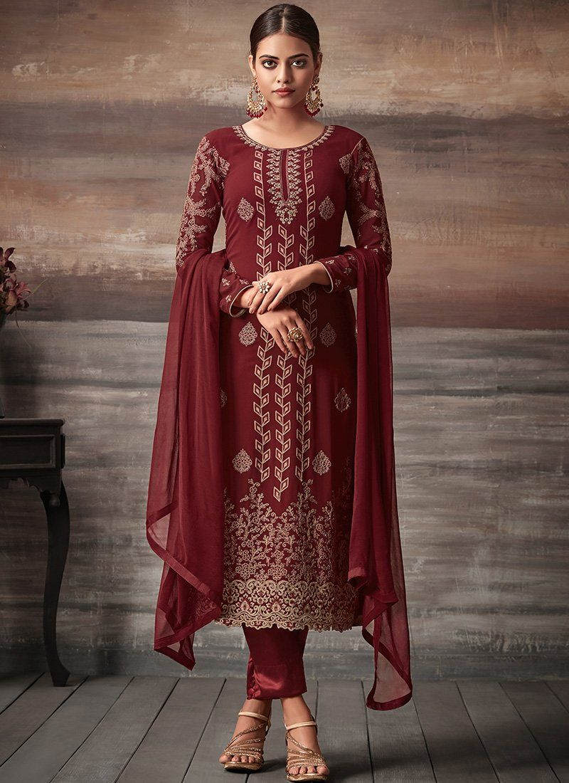 5af3375b07 Dark Red Embroidered Georgette Pant Suit – Lashkaraa | Casual ...