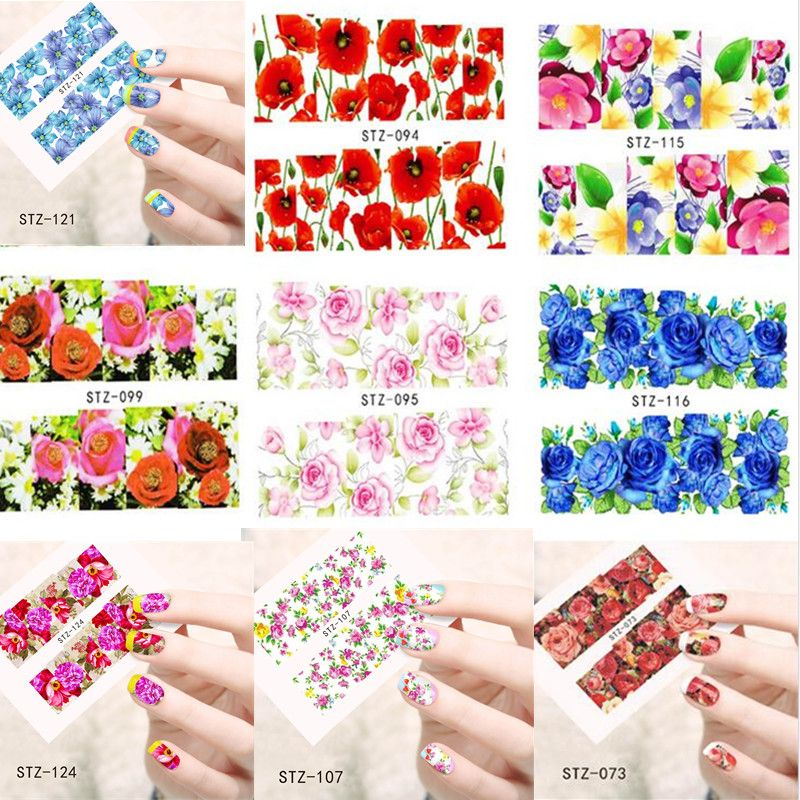 50pcs Water Transfer Nail Art Stickers Decals Beauty Flower Manicure ...