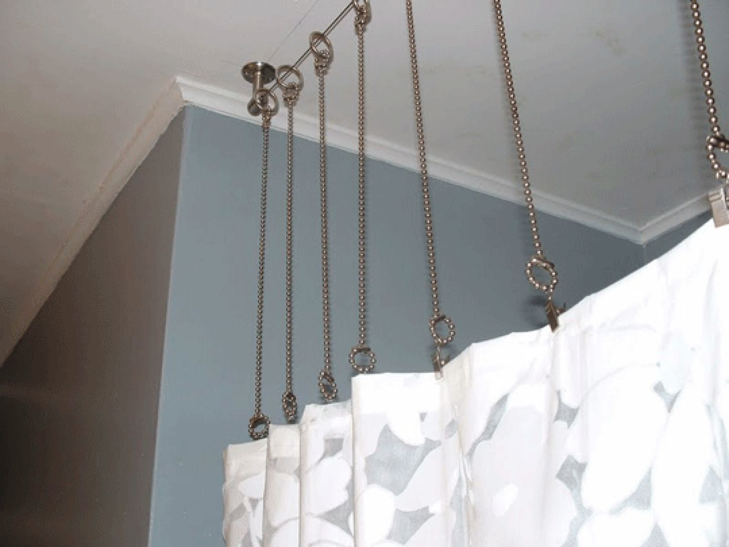 Shower Curtain Hanging Chains Clawfoot Tub Shower Curtain Diy