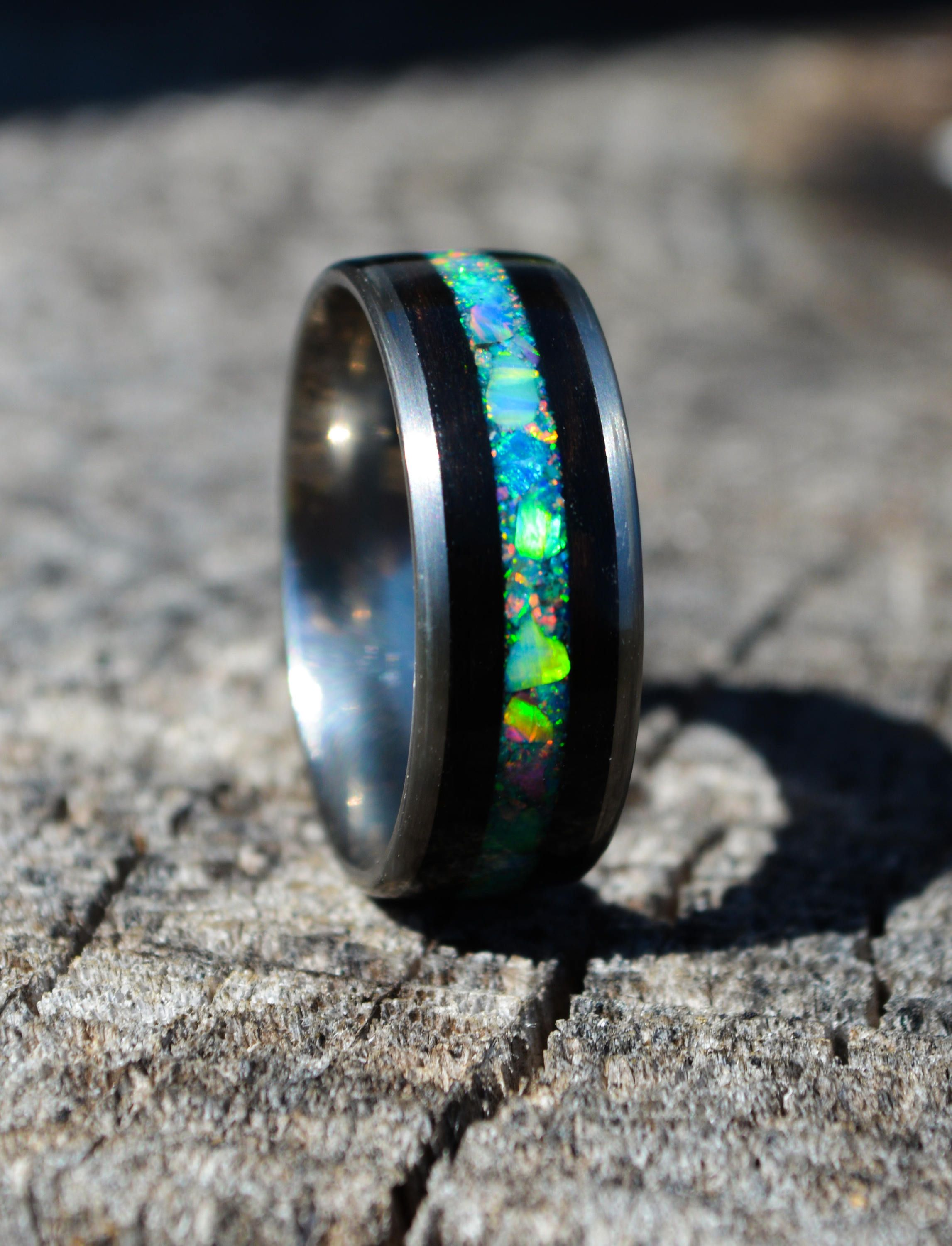 Black Opal Titanium Opal Ring Opal Engagement Ring