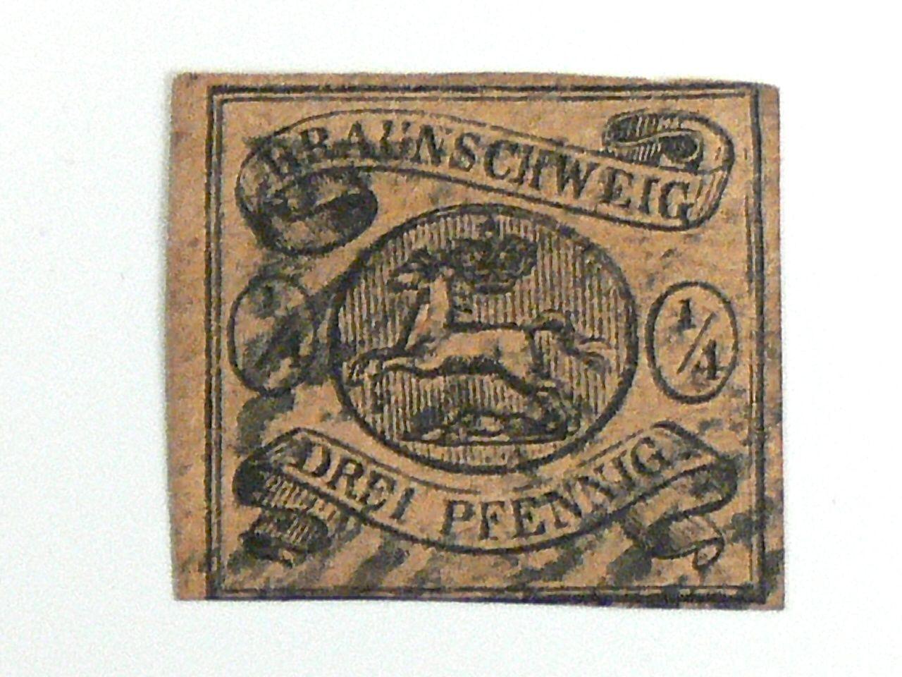 Die Drei Braunschweig breifmarke altdeutschland braunschweig freimarke 1 4 ggr drei