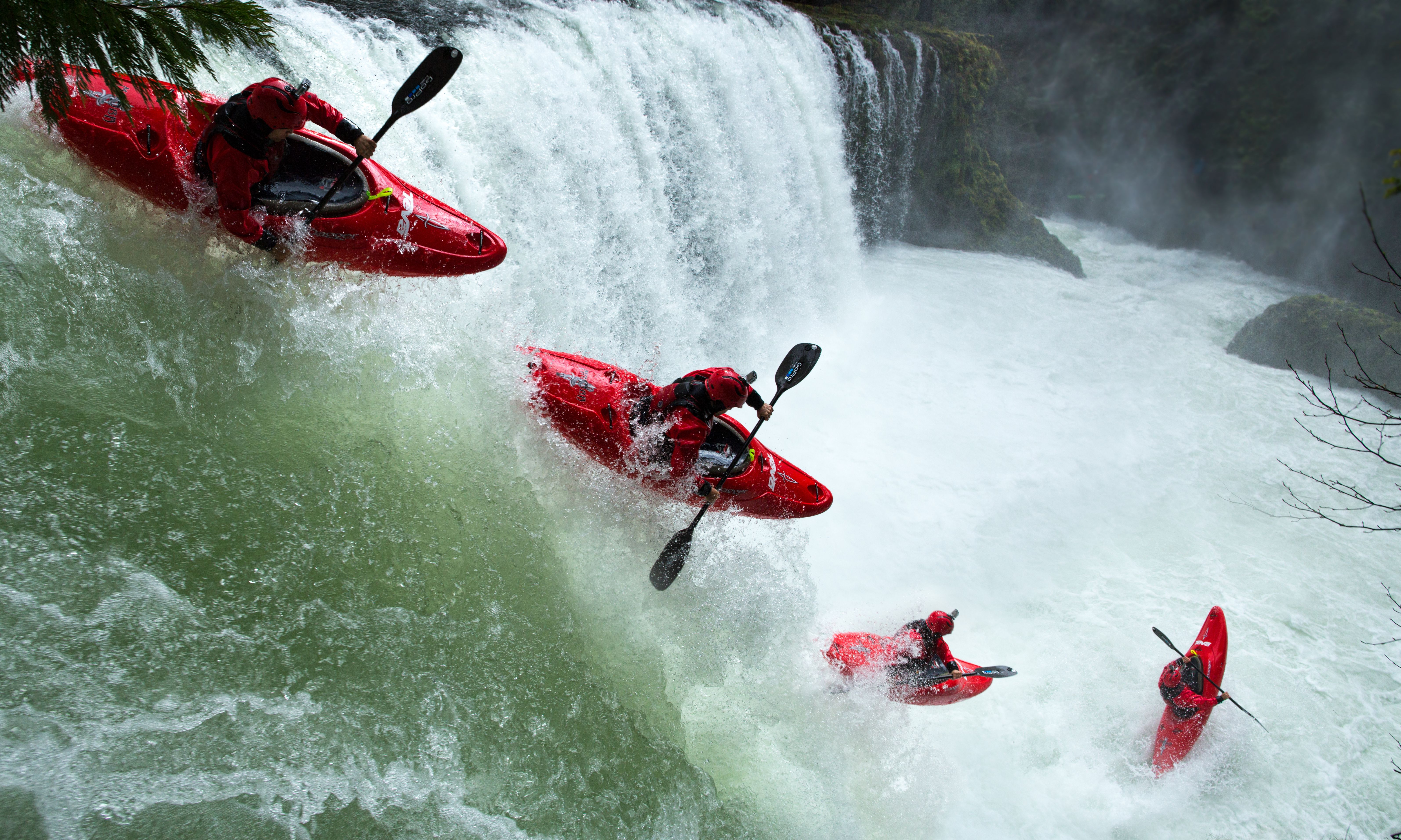 Rush Sturges running Sprit Falls in Washington at the highest flow it has been paddled.