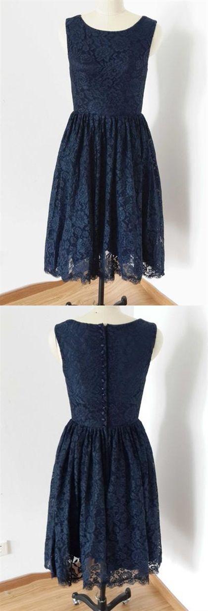 Navy Blue Lace Bridesmaid Dresses Sleeveless Short skirt #navyblueshortdress