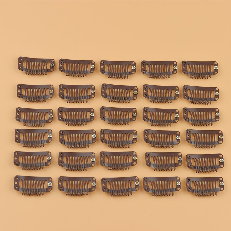 100pcs Brown Snap Clips For Hair Extensions 9 Teeth Clips U Shape