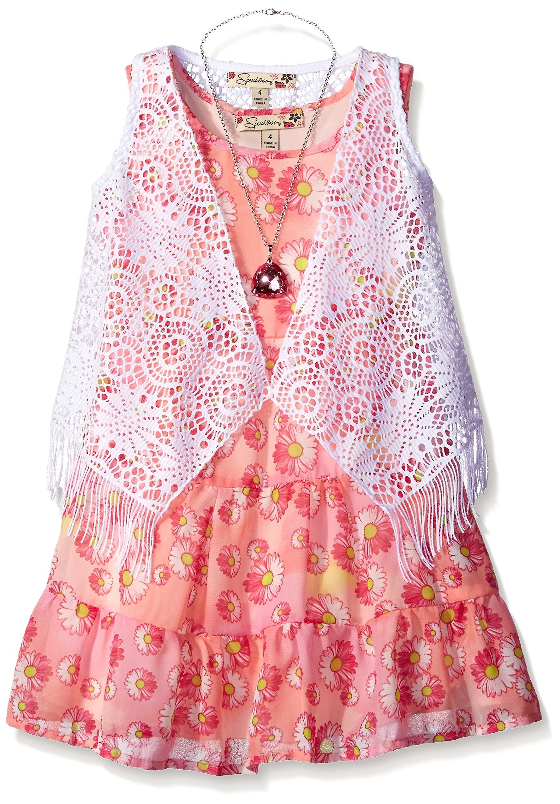 AMERICAN PRINCESS Girls Sequin Soutache Ruffle Cascade Dress Watermelon 2T 3T 4T