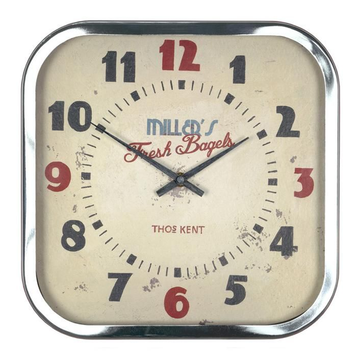 Thomas Kent Red Retro Style Metal Rimmed Clock In A Square Shape With Rounded Edges The Numbers Are In Red And B Kitchen Clocks Retro Clock Wall Clock Modern