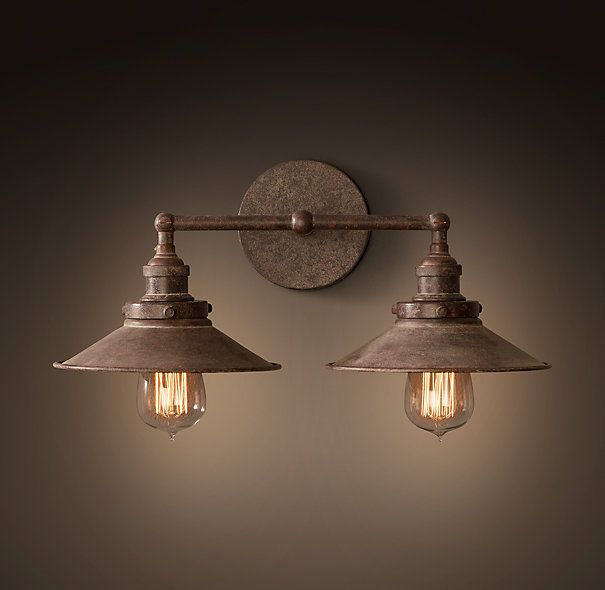 Bathroom Lights Rusting 20th c. factory filament metal double sconce | bathroom