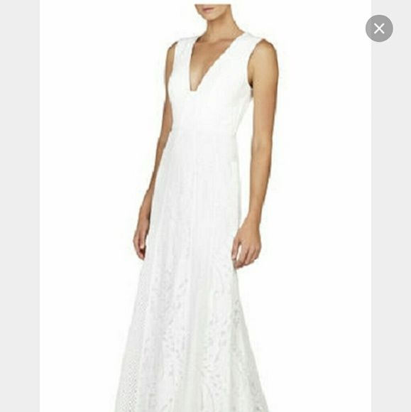 Gorgeous BGBG Maxazria dress White Elysian Sleeveless Lace-blocked dress. Great for wedding. Fitted through thigh, then flairs softly. BCBGMaxAzria Dresses