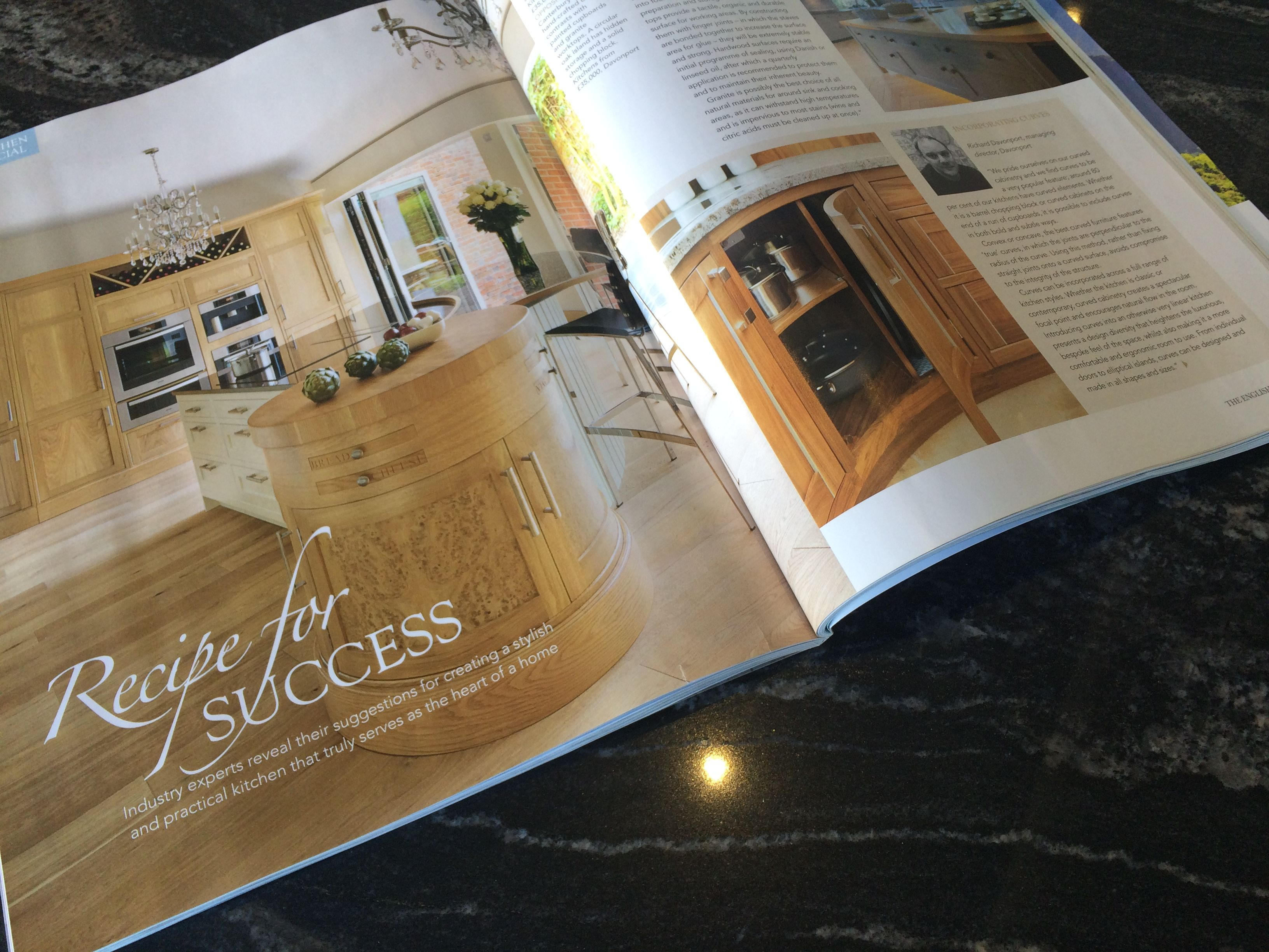 Our M.D Richard gives an insight into the importance of curves in kitchens in the April 16 issue of The English Home. The full page of our Canterbury kitchen is the perfect example.
