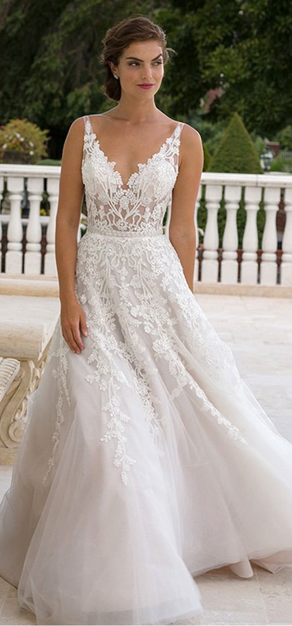 [203.50] Marvelous Tulle V-neck Neckline See-through A-line Wedding Dresses With Lace Appliques #prettypatterns