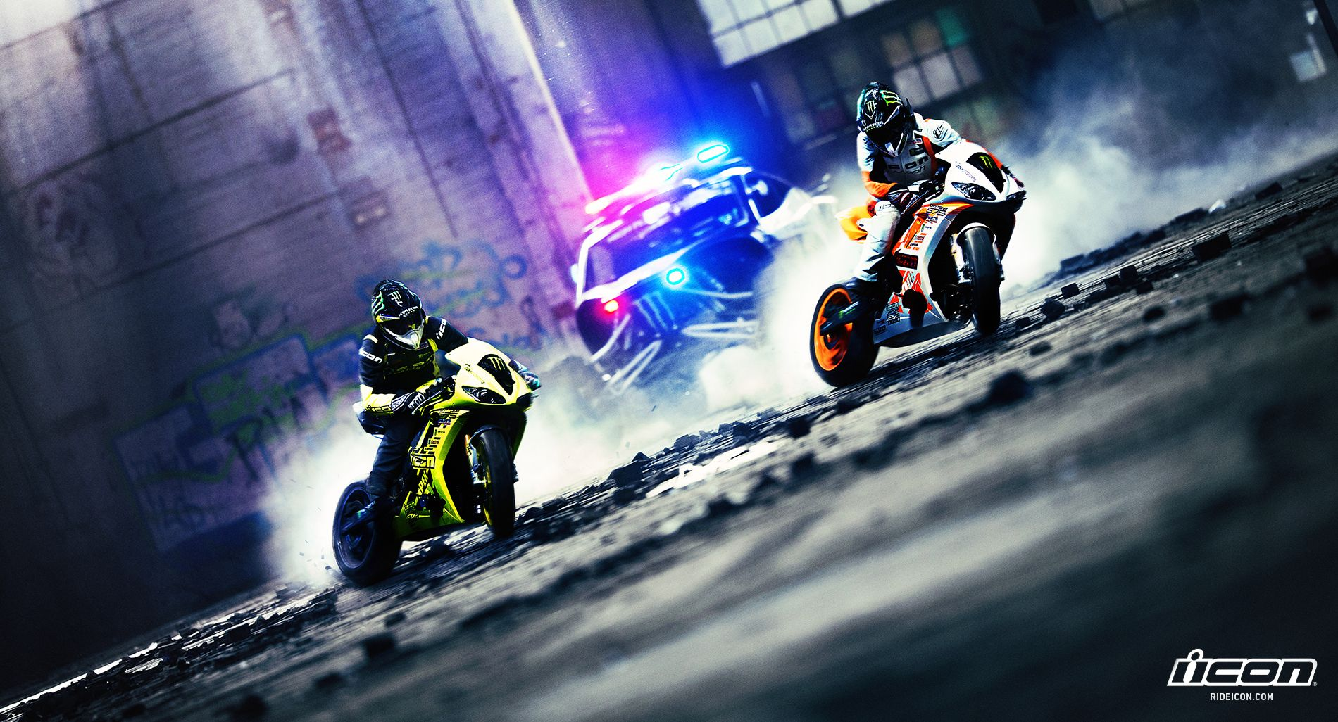 Icon Monster Energy Twin Triumph Daytona Drift Bikes And A Baja