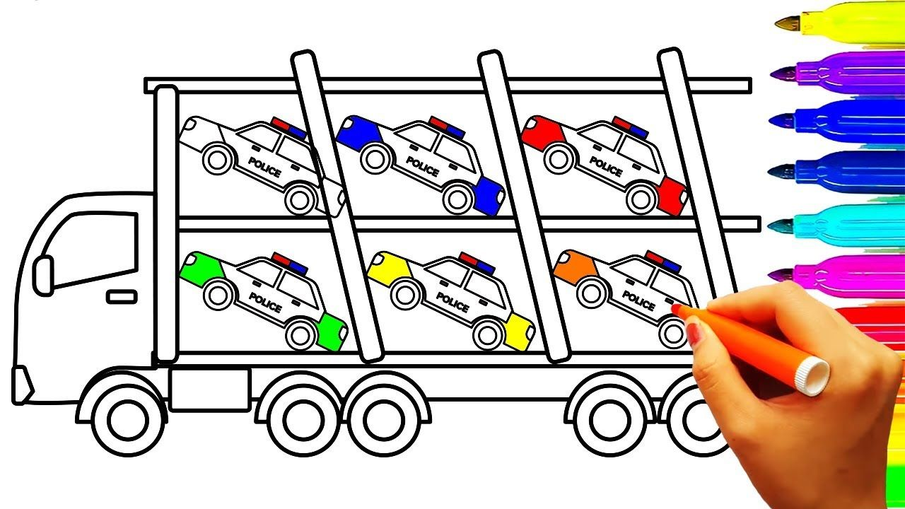 Colors Police Car Carrier Truck Coloring Pages, Construction Truck ...