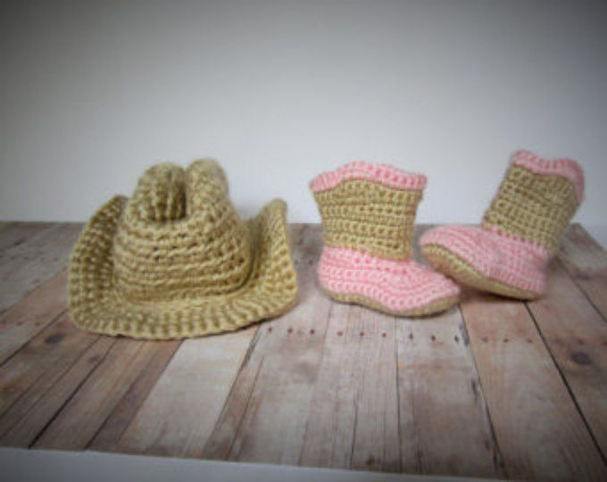Cowgirl Hat, Boots, Chaps & Diaper Cover Set, Crochet, Pink, Tan ...