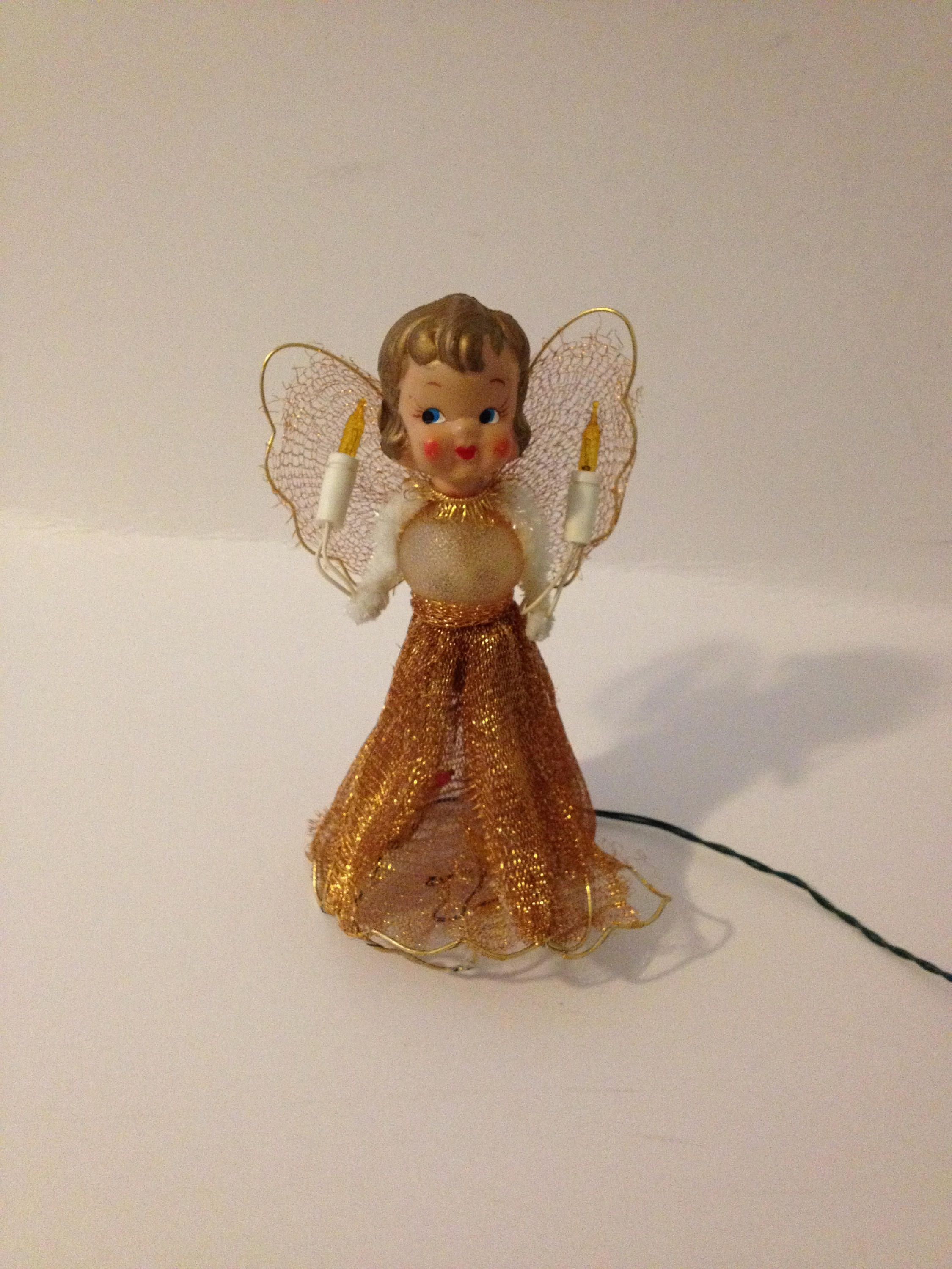 Vintage Antique 1950 S Gold Metallic Tulle Angel Lighted Etsy Christmas Tree Toppers Lighted Vintage Antiques Christmas Tree Toppers