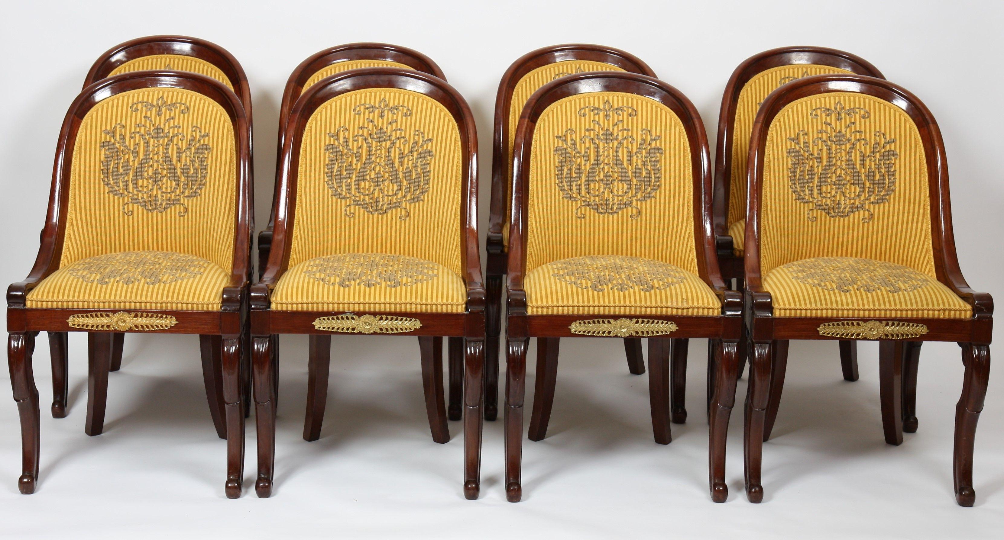 Suite De Huit Chaises Gondoles En Acajou En Acajou Et Placage D Acajou A Ceinture Tres Grande Vente De Prestige Au Chateau De Til Acajou Chaise Placage