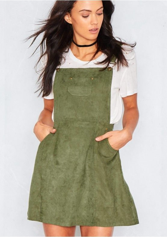f0a27bf42bb Alita Khaki Suede Pinafore Dress Missy Empire