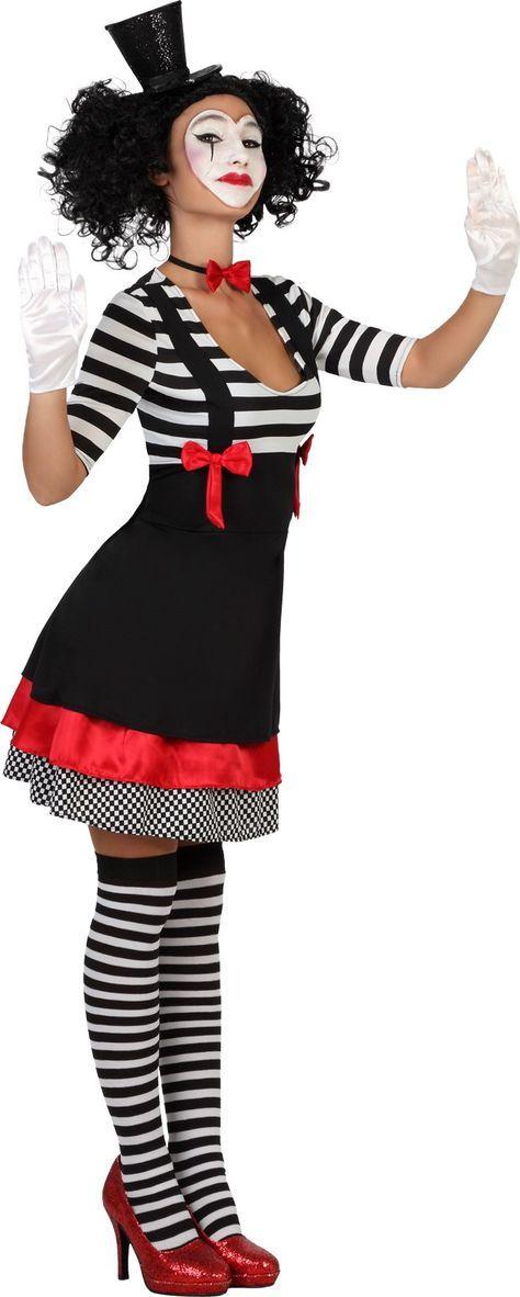 Süsse Pantomime Damenkostüm Clownfrau schwarz-weiss , günstige Faschings Kostüme bei Karneval Megastore