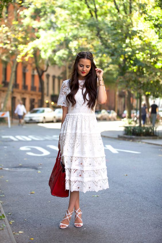 Girls White Crochet Dress