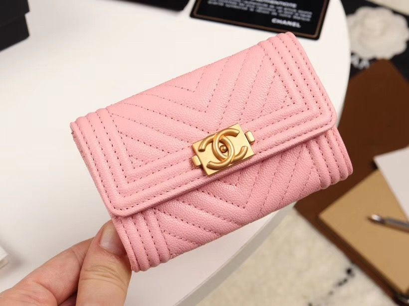 Chanel cc boy card case holder v pattern pink wallet