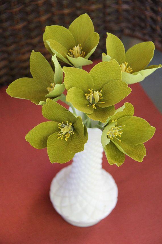 Hellebore flowers- Crepe paper flowers