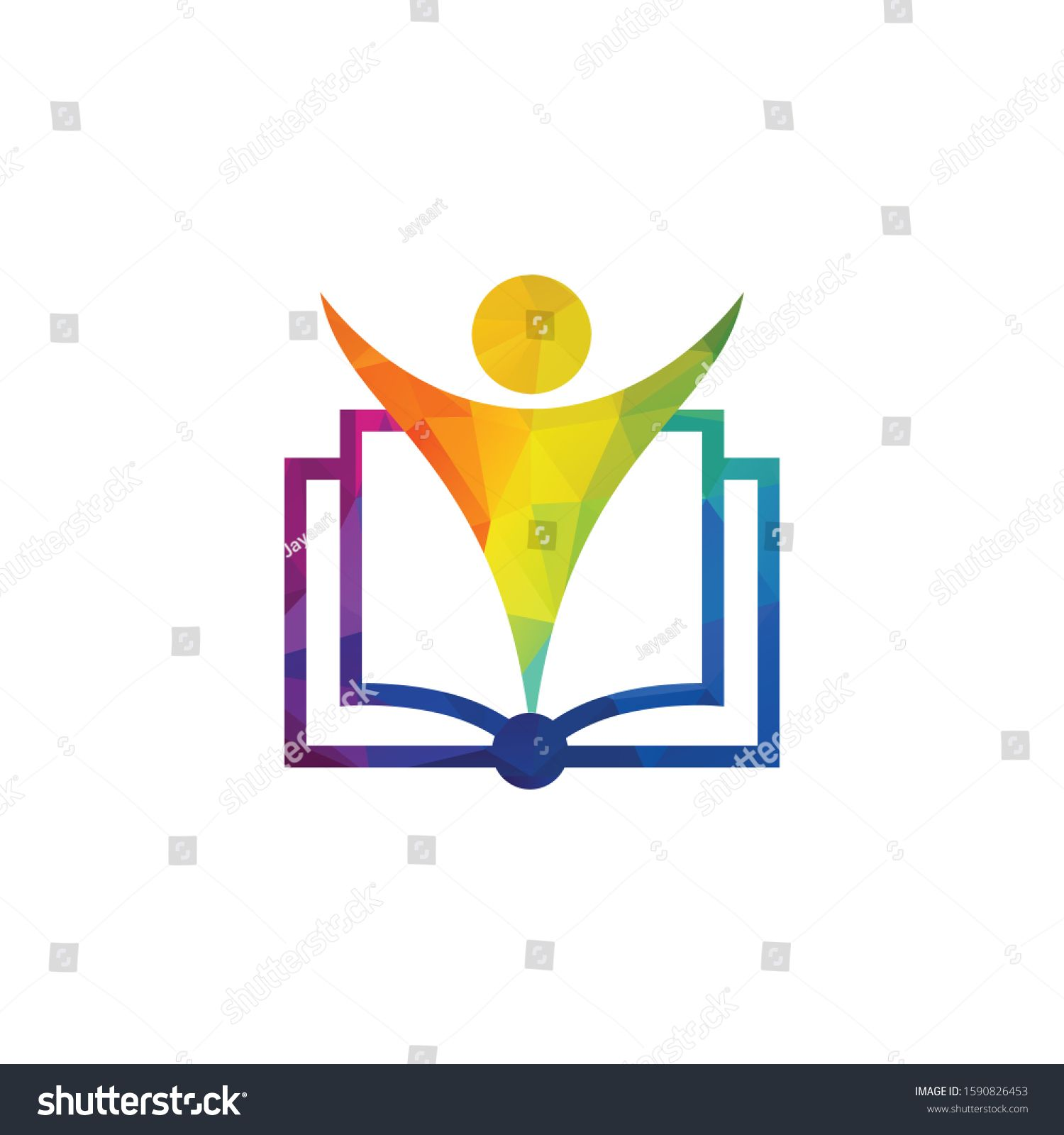 Education Logo With Open Book And Abstract Student Education