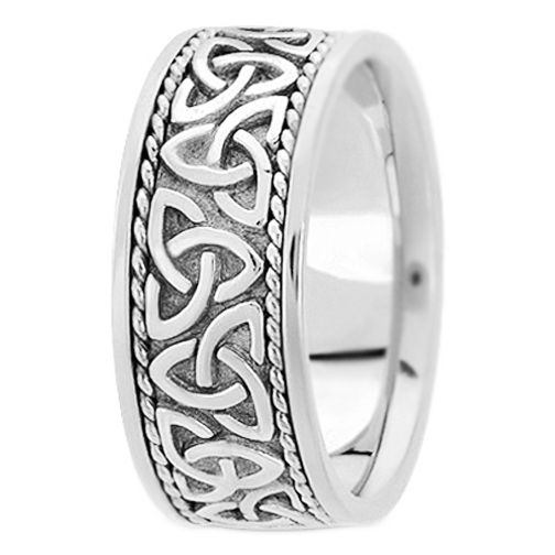 Wedding Band 14K White Gold Celtic Knot Trinity Roped Engraved Wide Men 39