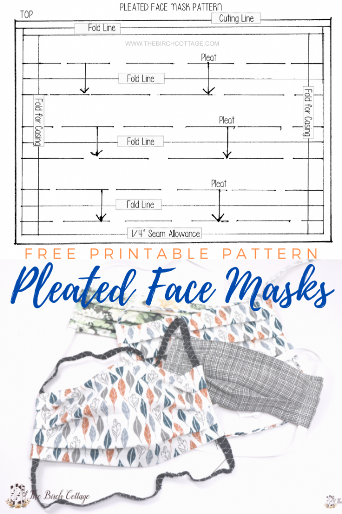 Free Printable Pleated Face Mask Pattern The Birch Cottage Easy Face Mask Diy Mask Template Printable Easy Face Masks