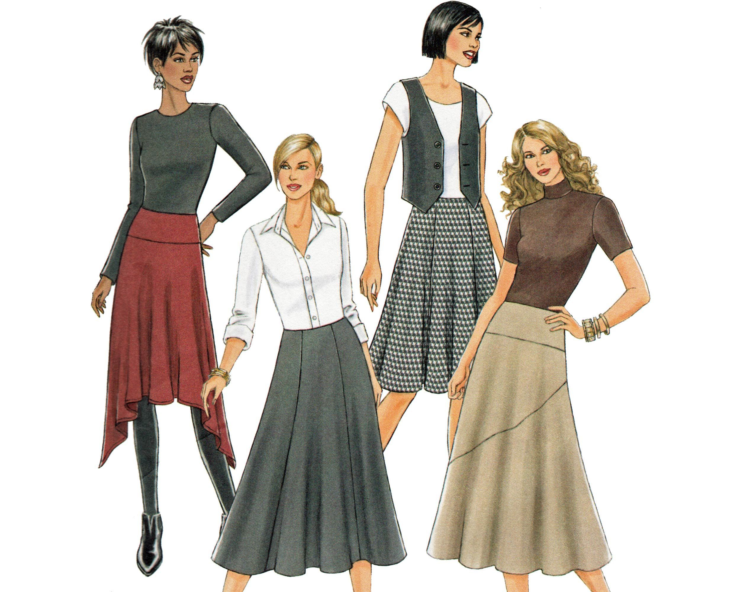 Sewing Pattern For Skirt Flared With Optional High Low Hem Fast Easy Butterick B5421 Uncut Sewing Patterns Fashion Sewing Pattern Plus Size Sewing Patterns