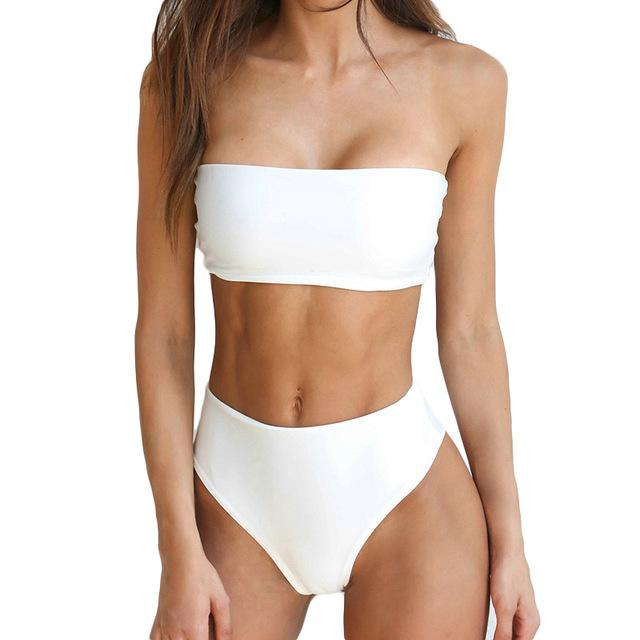 4d104f2aea PLAVKY 2018 Lady Sexy Solid Strapless Bandeau Biquini Cut Swim Wear Bathing  Suit Swimsuit Thong Swimwear Women High Waist Bikini