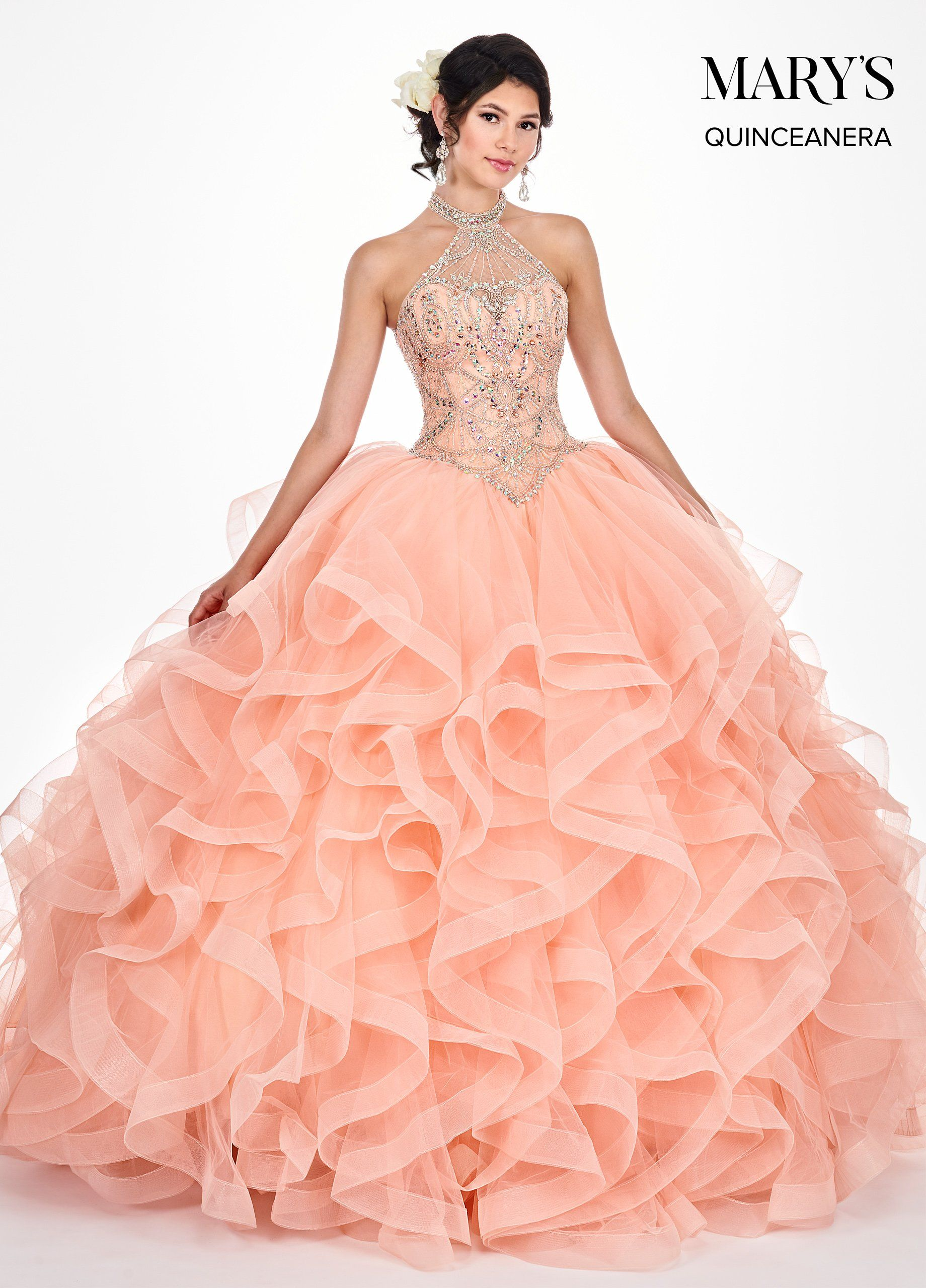 919443b81a0 Ruffled Illusion Halter Quinceanera Dress by Mary s Bridal MQ2049 in ...