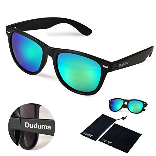 2f710f4111 Duduma® Reflective Revo Color Full Mirrored Lens Large Horn Rimmed Style  Uv400 Wayfarer Sunglasses (