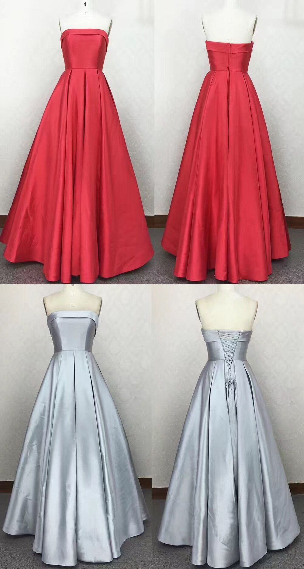 Strapless satin red prom dress silver wedding party formal gown in