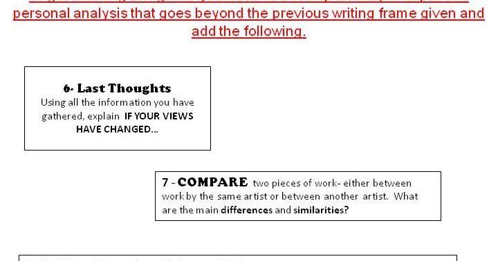 Visual Art Gcse Blog Artist Analysis Writing Frame  Art