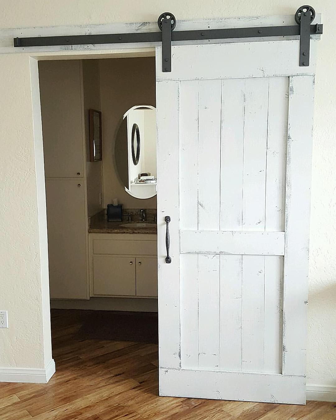Just Installed This Distressed White Barn Door With Hardware