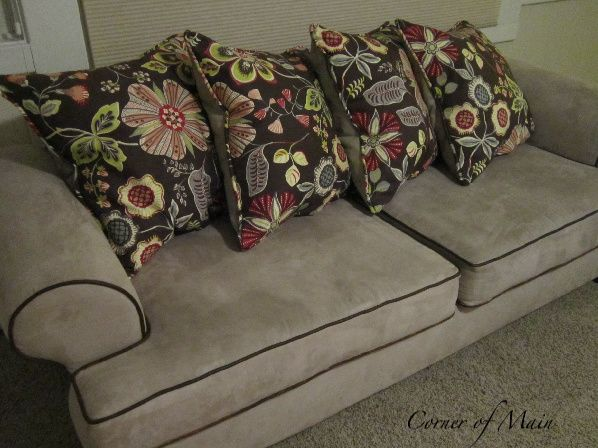 Love the pillows. We need to do this to our lumpy couch...