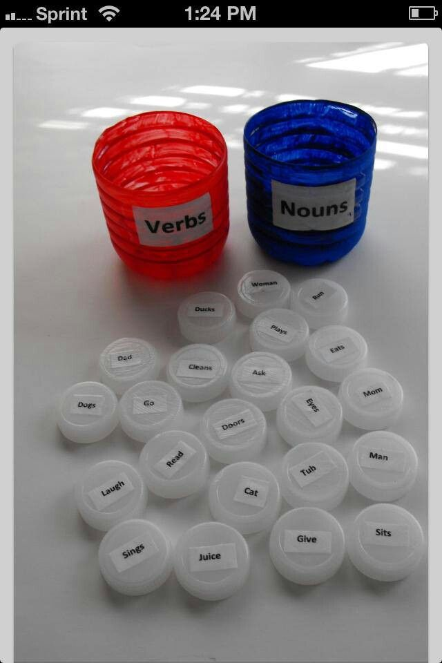 First Grade - Verbs & nouns Idea ..  I am going to use this for a center!! (kindergarten: use pictures)