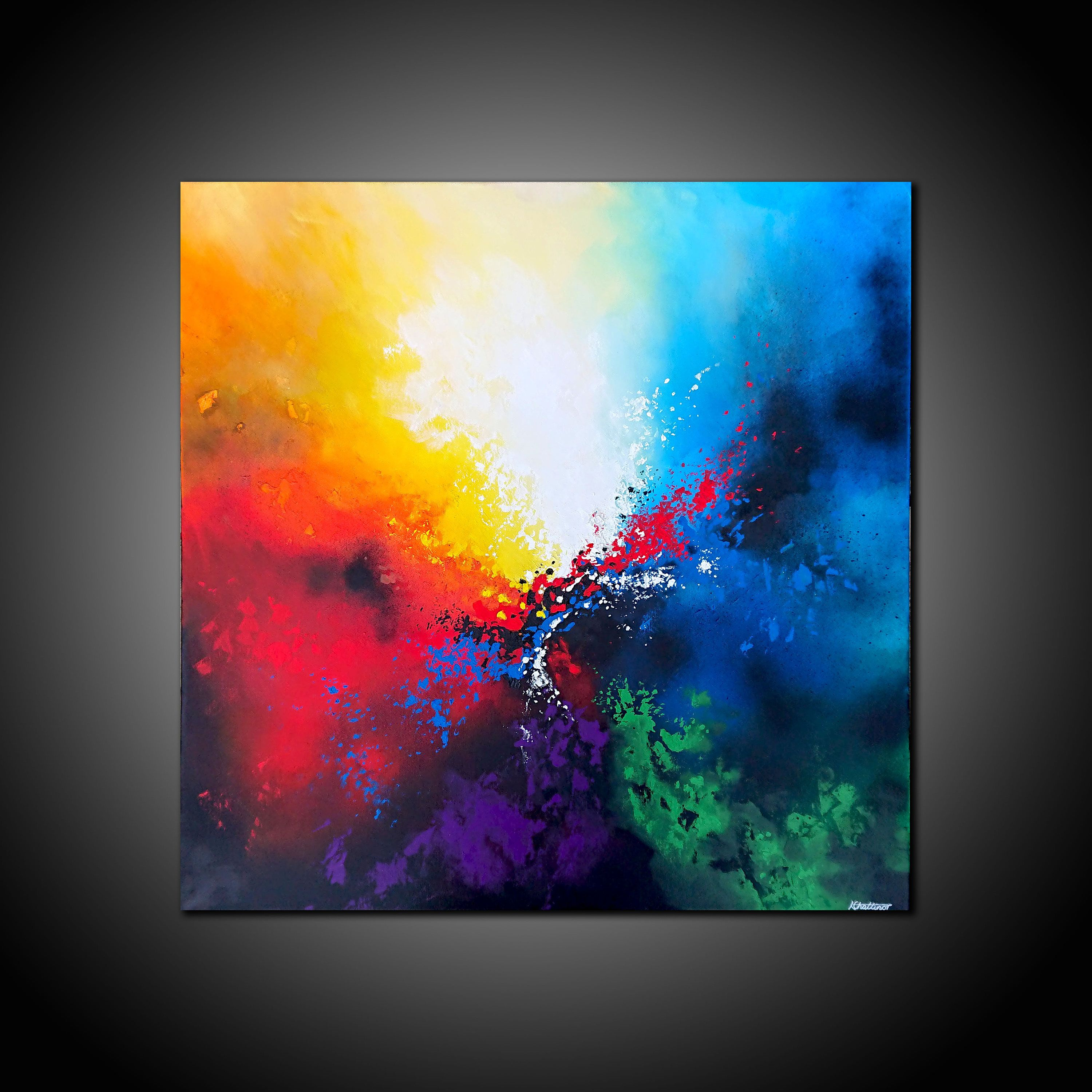 Large Original Abstract Painting Canvas Wall Art Modern Contemporary Rainbow Multicolour Rainbow Abstract Painting Bright Abstract Art Abstract Painting