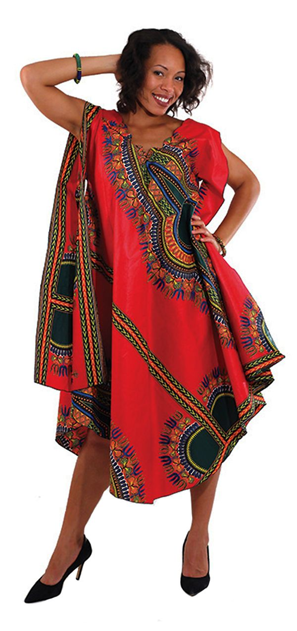 Traditional African Print Umbrella Dress - Beautiful African patterned flowing dress with intricate patterns and pockets.  This dress is comfortable and classy!  Perfect for a cocktail party or a night out with the girls.  This dressy casual dress is great for celebrating African culture and making a bold fashion statement!  #blackhistorymonth #pattern #reddress #cocktaildress #dressycasual #fashion #wearit #dressup