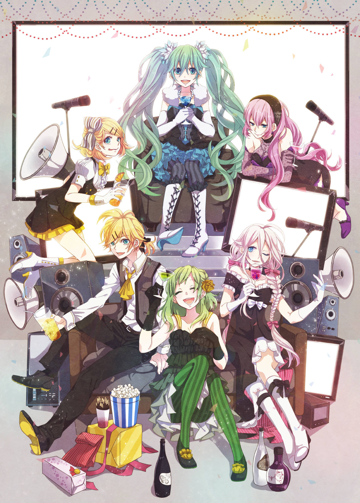 Vocaloid - Hatsune Miku, Megurine Luka, Gumi, IA, Kagamine Len and Rin, by ヤマコ on pixiv