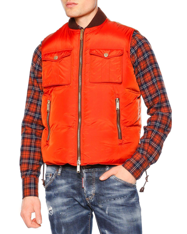 Zip-Front Puffer Vest, Orange, Men's, Size: 50 - Dsquared2