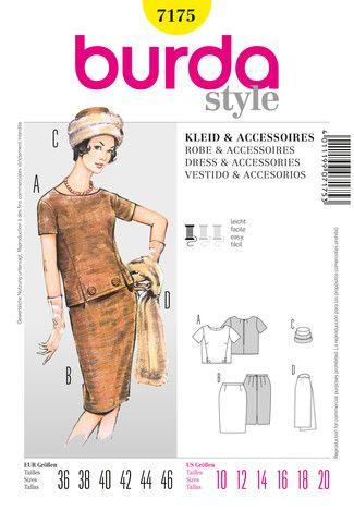 Vintage Kleid mit Pelzstola und Mütze   Burda style, Mütze und ...