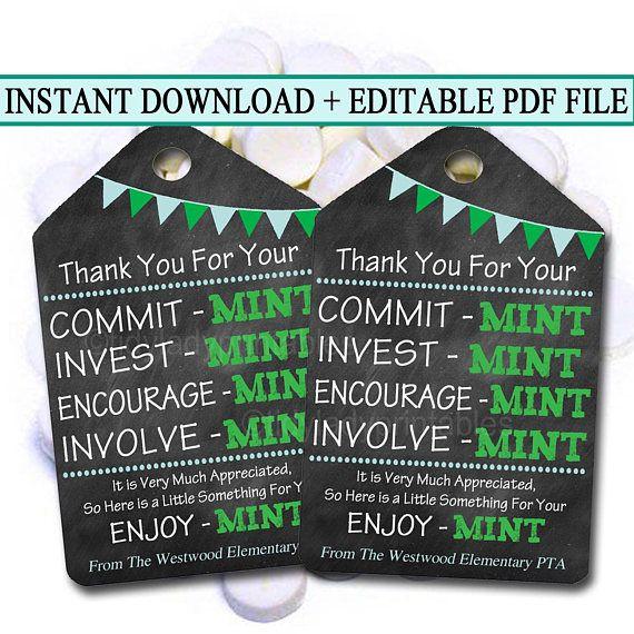 Printable Thank You Tags, Volunteer Mint Labels, Printable ...