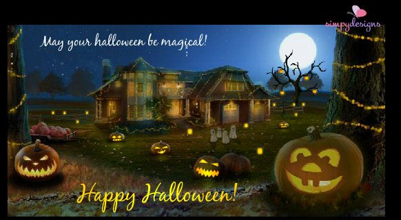 Pumpkins ghost and magic around this spookie halloween house happy halloween cards free happy halloween wishes greeting cards m4hsunfo
