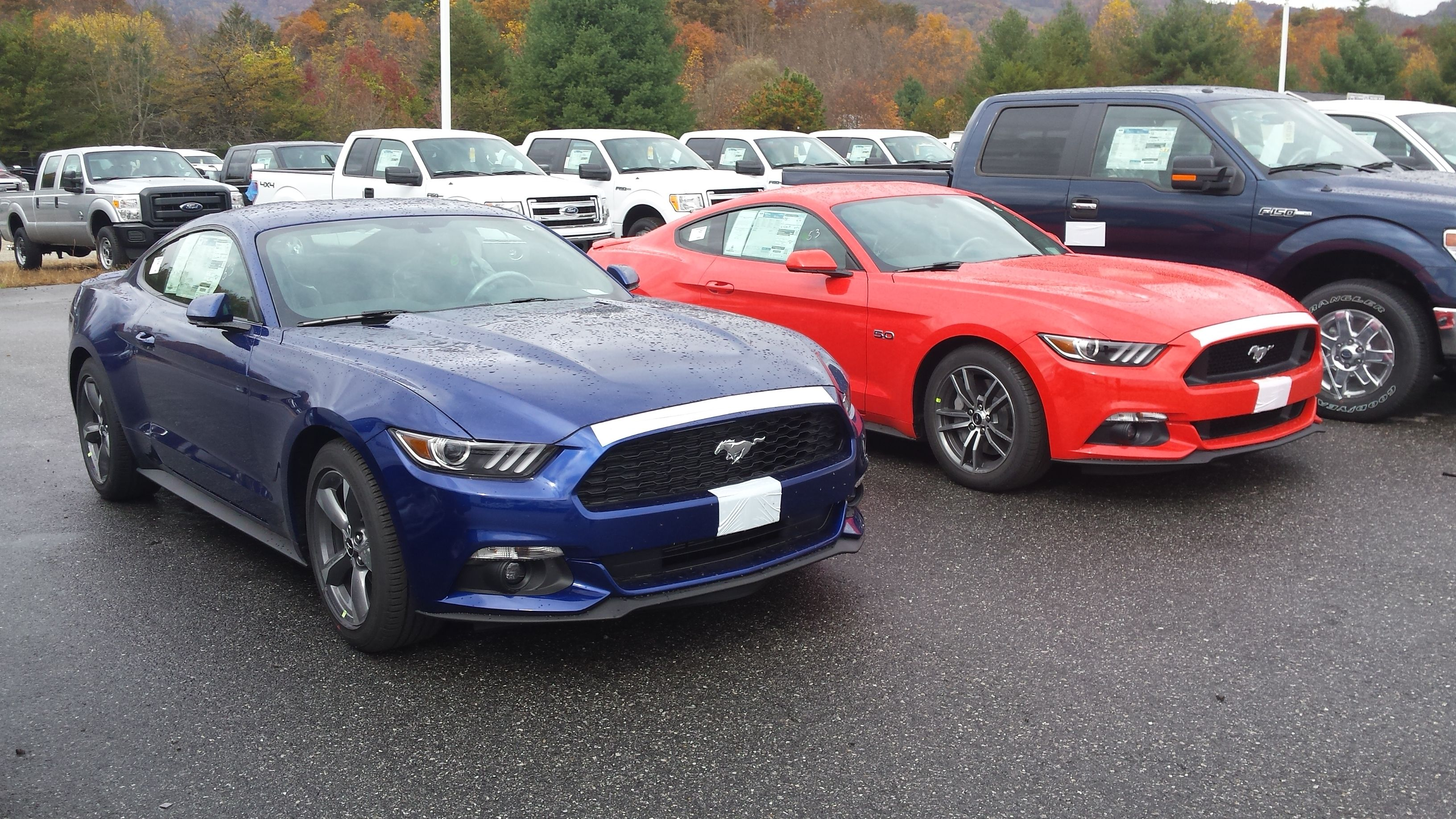 2015 mustang v6 in deep impact blue 2015 mustang gt in competition orange just